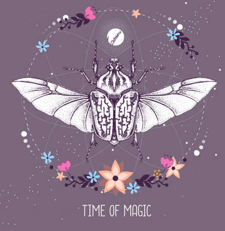 Modern magic witchcraft taros card with Goliath beetle on astrology background. Vector illustration