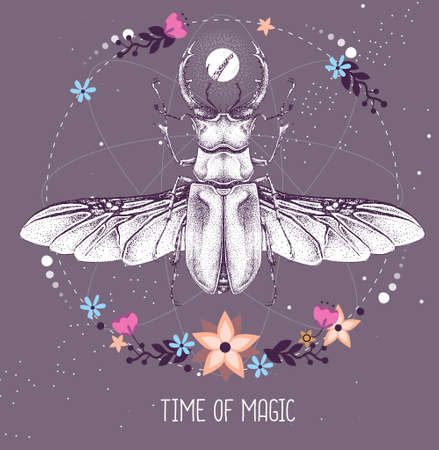 Modern magic witchcraft taros card with stag beetle on astrology background. Vector illustration