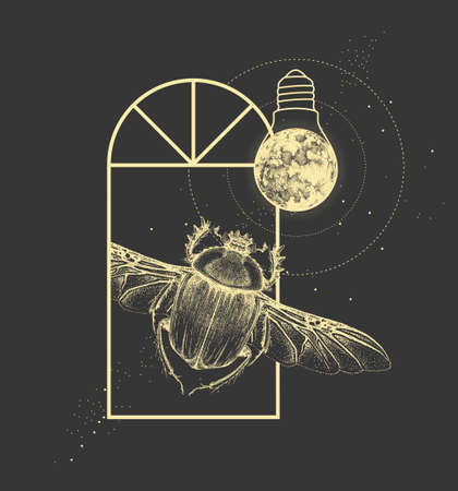 Magic witchcraft window silhouette with scarab beetle and full moon like light bulb. Vector illustration Ilustração