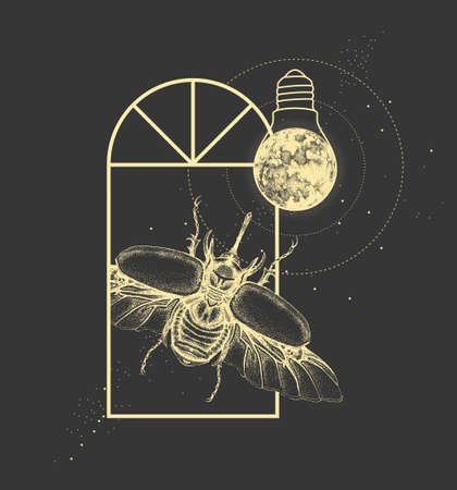 Magic witchcraft window silhouette with rhinoceros beetle and full moon like light bulb. Vector illustration