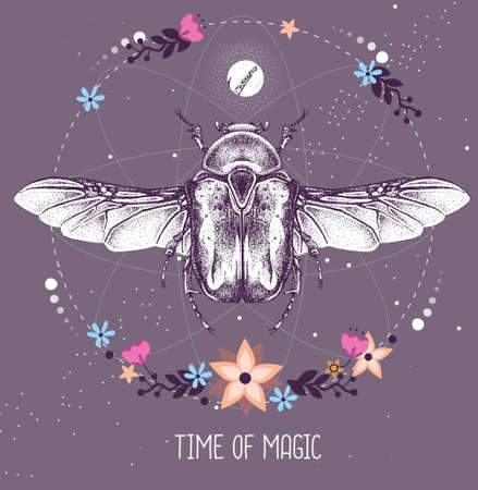 Modern magic witchcraft taros card with Flower chafer beetle on astrology background. Vector illustration