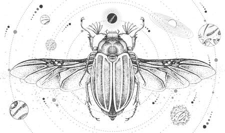 Modern magic witchcraft card with solar system and june beetle. Hand drawing occult vector illustration Ilustração