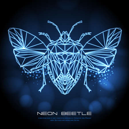 Abstract neon polygonal triangle shield bug. Bug neon sign. Entomological vector illustration Ilustração