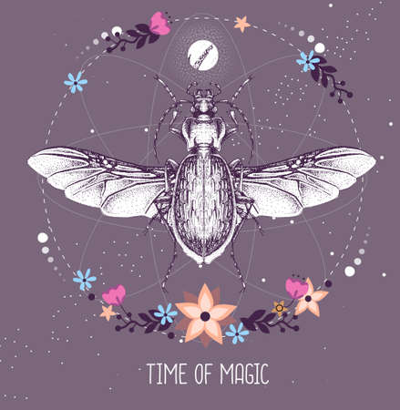 Modern magic witchcraft taros card with ground beetle on astrology background. Vector illustration