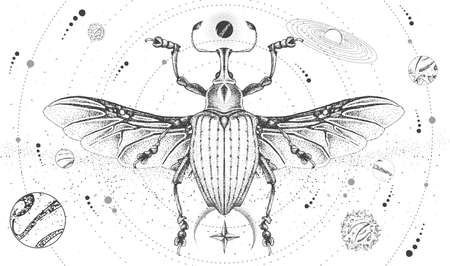 Modern magic witchcraft card with solar system and Curculionidae beetle. Hand drawing occult vector illustration Ilustração