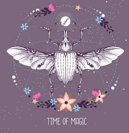 Modern magic witchcraft taros card with Curculionidae beetle on astrology background. Vector illustration