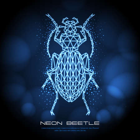 Abstract neon polygonal triangle ground beetle. Bug neon sign. Entomological vector illustration