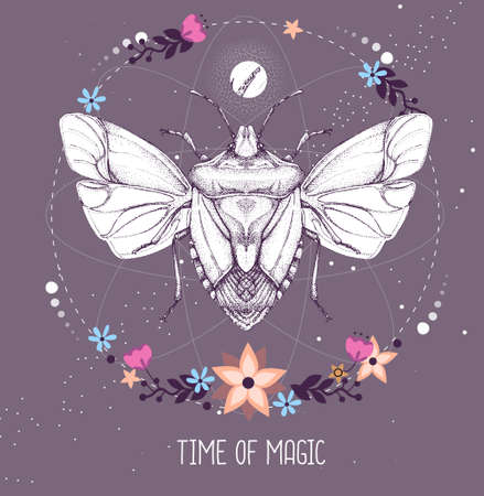 Modern magic witchcraft taros card with shield bug on astrology background. Vector illustration Ilustração