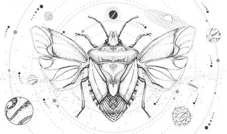 Modern magic witchcraft card with solar system and shield beetle. Hand drawing occult vector illustration Ilustração