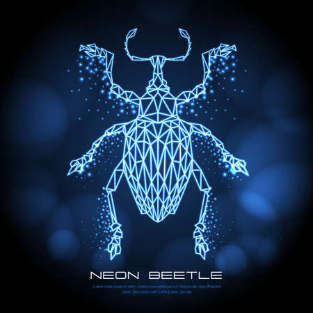 Abstract neon polygonal triangle Curculionidae beetle. Bug neon sign. Entomological vector illustration