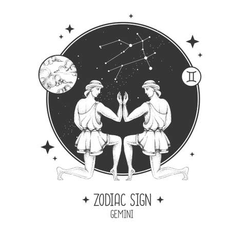 Modern magic witchcraft card with astrology Gemini zodiac sign. Realistic hand drawing men figure illustration. Zodiac characteristic