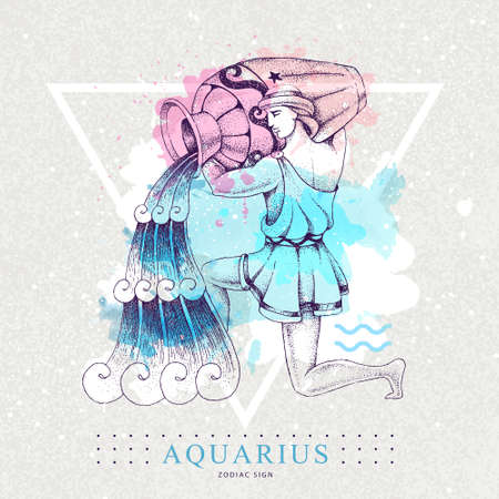 Modern magic witchcraft card with astrology Aquarius zodiac sign on artistic watercolor background. Realistic hand drawing men with water jug illustration. Ilustración de vector