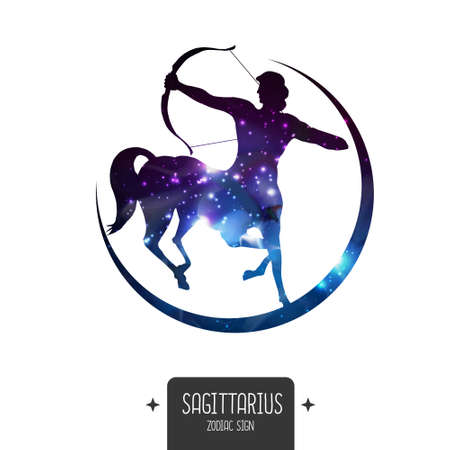Modern magic witchcraft card with astrology Sagittarius zodiac sign. Sagittarius silhouette with outer space inside