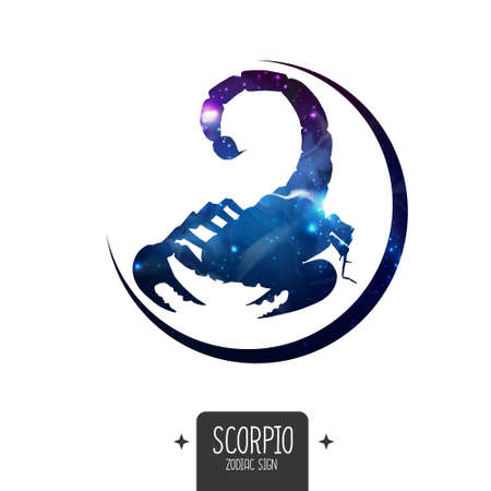 Modern magic witchcraft card with astrology Scorpio zodiac sign. Scorpio silhouette with outer space inside Ilustrace
