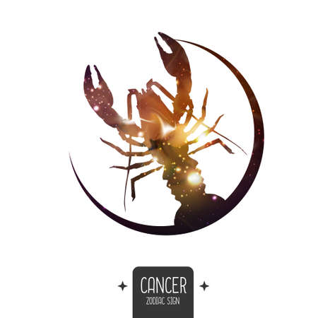 Modern magic witchcraft card with astrology Cancer zodiac sign. Cancer silhouette with outer space inside