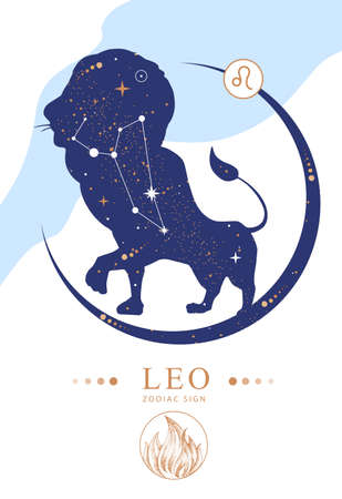 Modern magic witchcraft card with astrology Leo zodiac sign. Zodiac characteristic Ilustrace