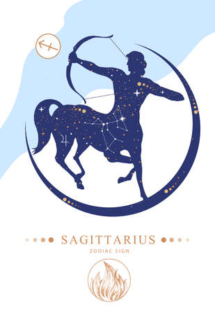 Modern magic witchcraft card with astrology Sagittarius zodiac sign. Silhouette of centaur with Bow and arrow. Zodiac characteristic Ilustrace