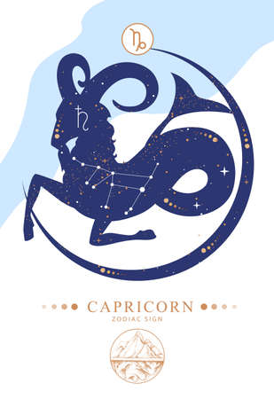 Modern magic witchcraft card with astrology Capricorn zodiac sign. Zodiac characteristic