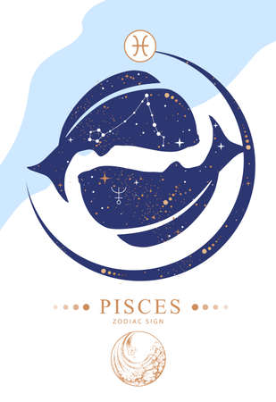 Modern magic witchcraft card with astrology Pisces zodiac sign. Zodiac characteristic