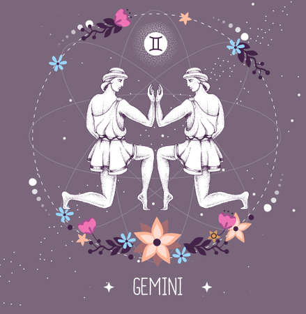 Modern magic witchcraft card with astrology Gemini zodiac sign.