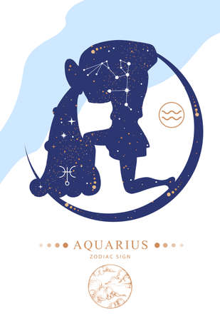 Modern magic witchcraft card with astrology Aquarius zodiac sign. Zodiac characteristic