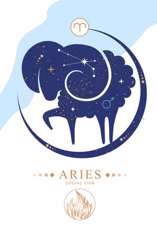 Modern magic witchcraft card with astrology Aries zodiac sign. Zodiac characteristic Ilustrace