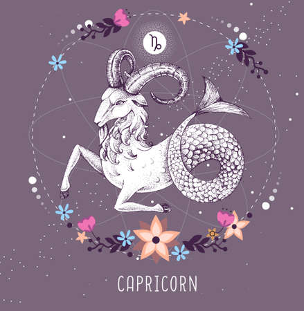 Modern magic witchcraft card with astrology Capricorn zodiac sign. Ilustrace