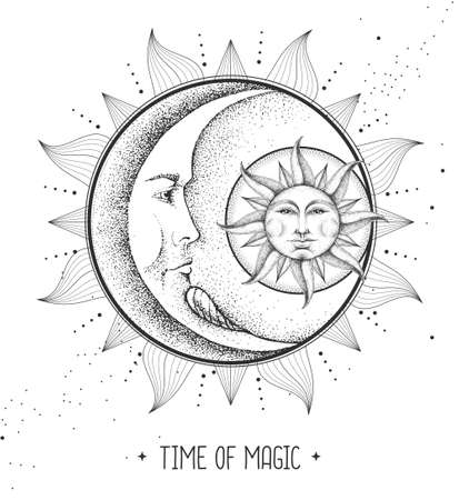 Modern magic witchcraft card with astrology sun and moon sign with human face. Day and nignt. Realistic hand drawing illustration of sun and moon with human face