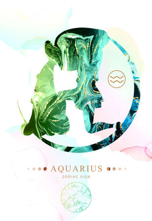 Modern magic witchcraft card with astrology Aquarius zodiac sign with alcohol ink texture. Zodiac characteristic. Marble texture background