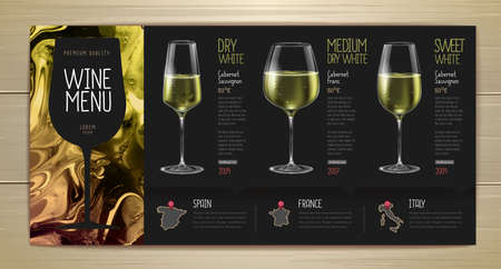 Wine menu design with alcohol ink texture. Marble texture background. Set of wine glasses Illustration