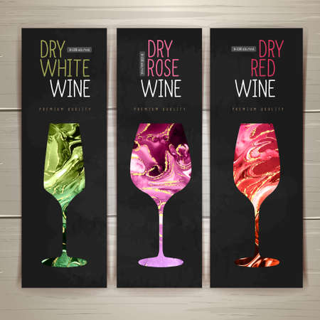 Wine menu design with alcohol ink texture. Marble texture background. Set of wine glasses Ilustrace