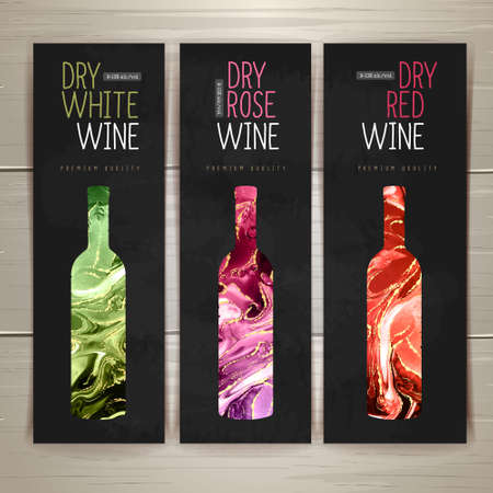 Wine menu design with alcohol ink texture. Marble texture background. Set of wine bottles