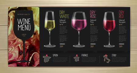 Wine menu design with alcohol ink texture. Marble texture background Reklamní fotografie - 164131181