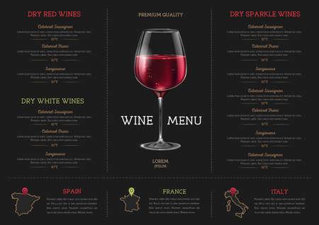 Wine restaurant menu design with realistic wine glass. Chalk background Ilustrace