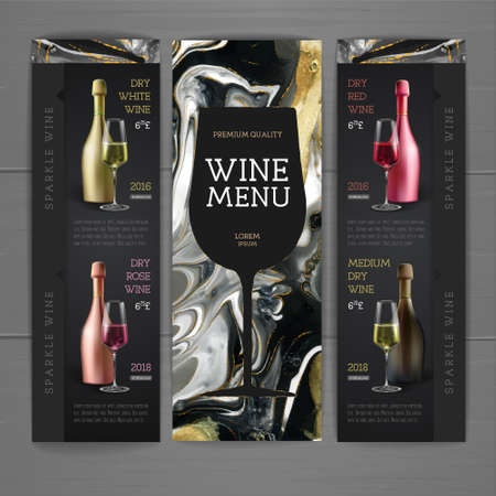 Wine menu design with alcohol ink texture. Marble texture background. Reklamní fotografie - 164131182