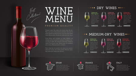 Wine restaurant menu design with realistic wine glasses and bottles. Chalk background