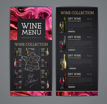 Wine menu design with alcohol ink texture. Wine map. French wine list. Marble texture background.
