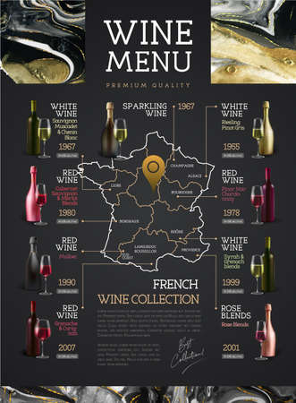 Wine menu design with alcohol ink texture. Wine map. French wine list. Marble texture background. Reklamní fotografie - 163906155