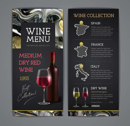 Wine menu design with alcohol ink texture. Marble texture background. Ilustrace
