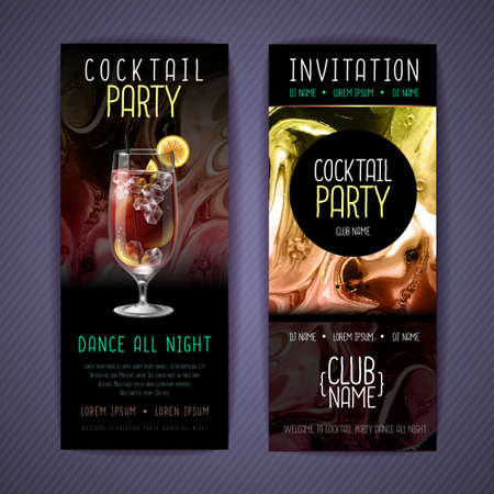 Cocktail menu design with alcohol ink texture. Marble texture background. Ilustrace