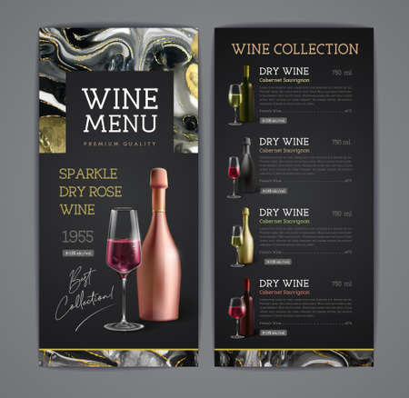 Wine menu design with alcohol ink texture. Marble texture background. Illustration