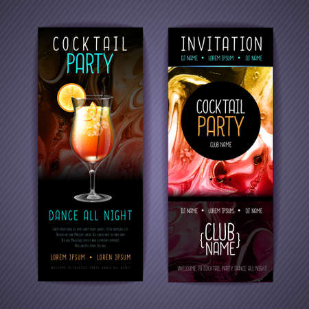 Cocktail menu design with alcohol ink texture. Marble texture background. Tequila sunrise