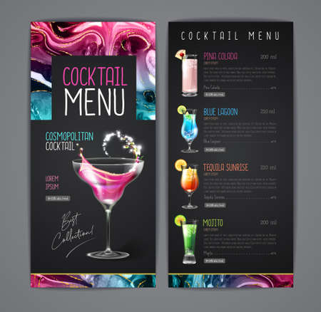 Cocktail menu design with alcohol ink texture. Marble texture background. Reklamní fotografie - 163906159