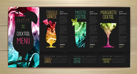 Cocktail menu design with alcohol ink texture. Marble texture background. Set of cocktail glasses