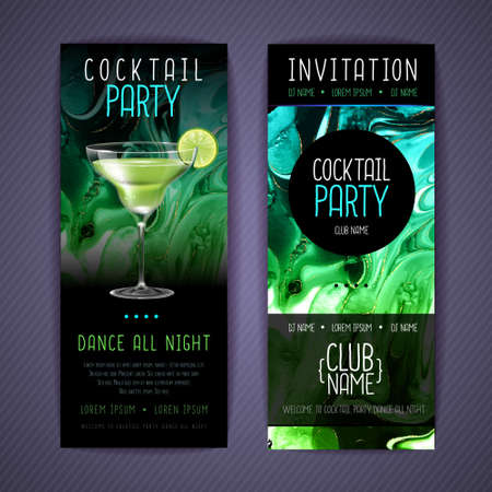 Cocktail menu design with alcohol ink texture. Marble texture background. Margarita