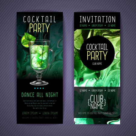 Cocktail menu design with alcohol ink texture. Marble texture background. Mojito