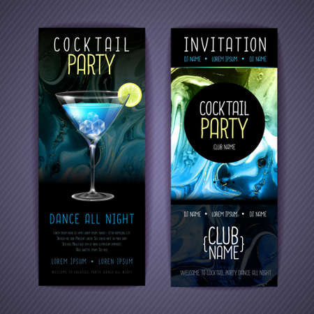 Cocktail menu design with alcohol ink texture. Marble texture background. Blue lagoon Ilustrace