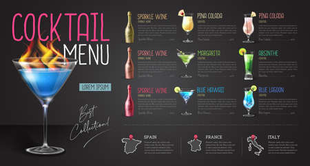 Cocktail menu design with realistic cocktail glasses and bottles. Chalk background