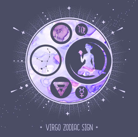 Modern magic witchcraft card with astrology Virgo zodiac sign. Alcohol ink background. Zodiac characteristic