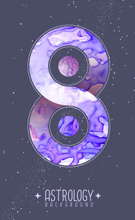 Modern magic witchcraft card with planets in outer space. Infinity symbol. Alcohol ink occult illustration